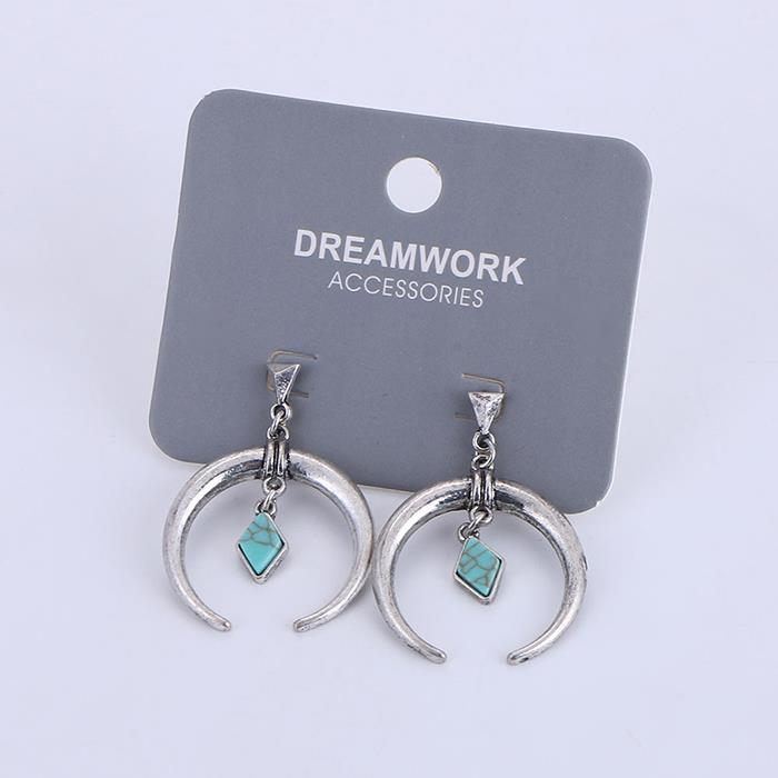 Vintage Plated Ancient Silver Ethnic Style Turquoise Pendant Earrings