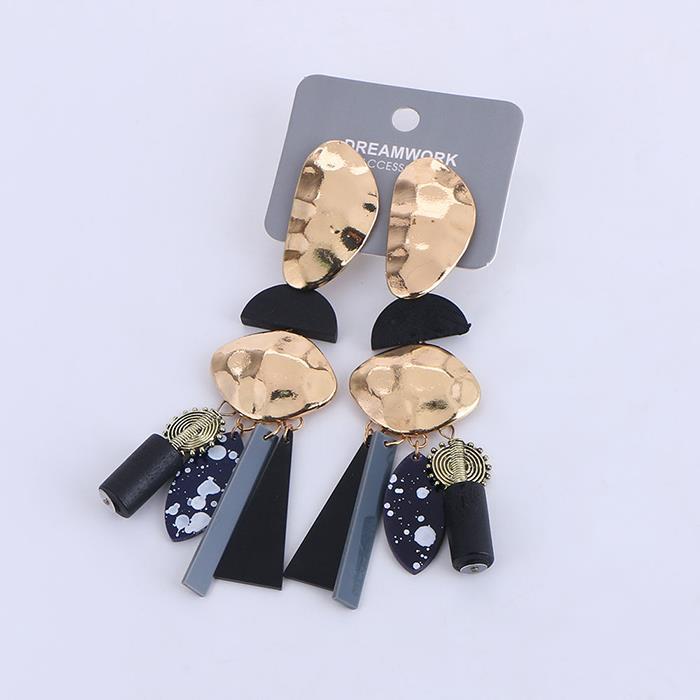 Exaggerated graffiti acrylic plate wooden beads tassel pendant earrings women's