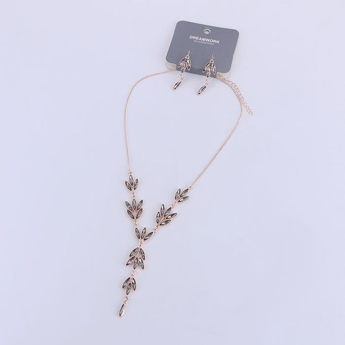 Luxury Dinner Rose Gold Necklace Earrings Jewelry Set