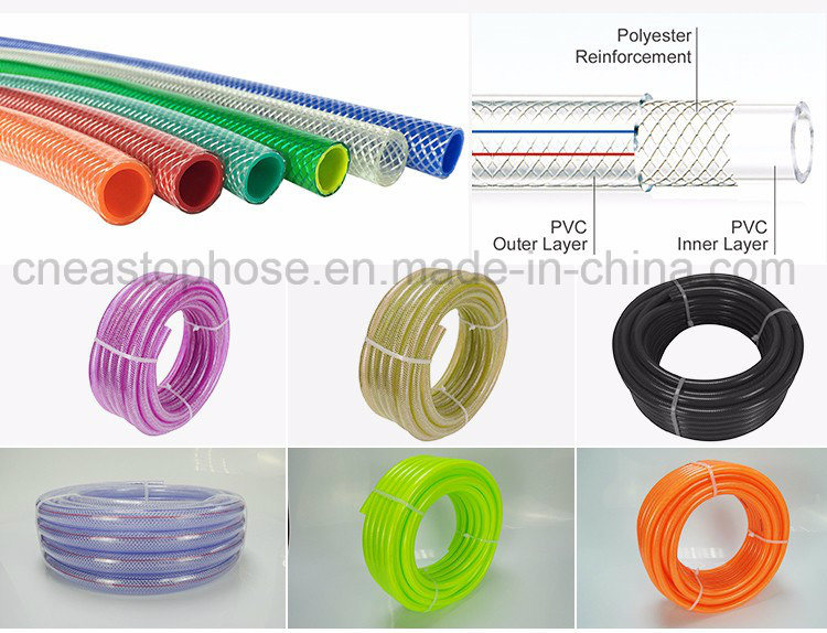 Transparent PVC Fiber Braided Reinforced Plastic Hose for Water Gas