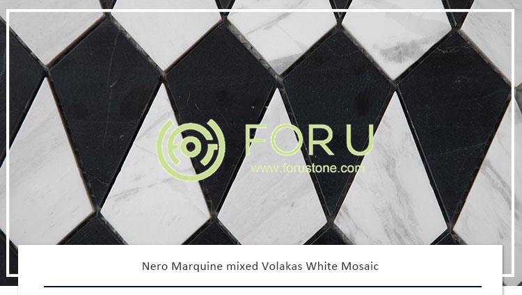 Nero Marquine mixed Volakas White marble Mosaic tiles