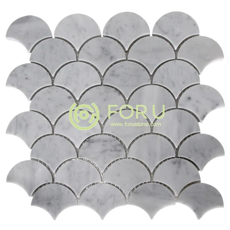 New design marble mosaic tile Waterjet Fish Scale Marble Mosaic Tile floor decorative