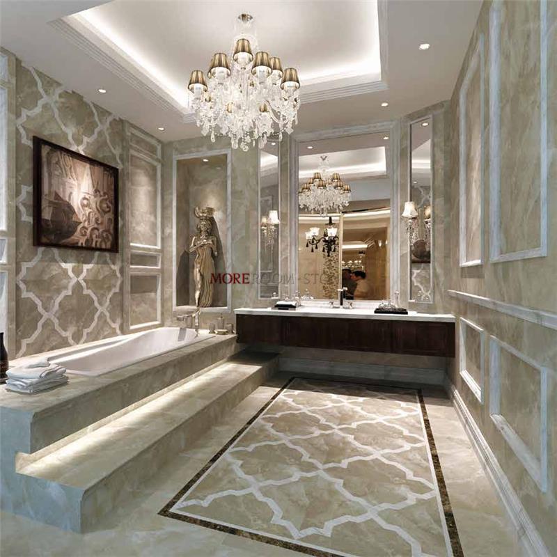 Water Jet Grey Marble Floor Design Pattern For Bathroom