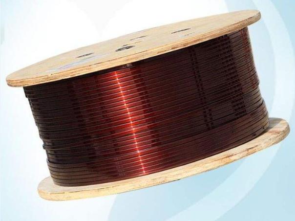 Enamelled copper flat wire
