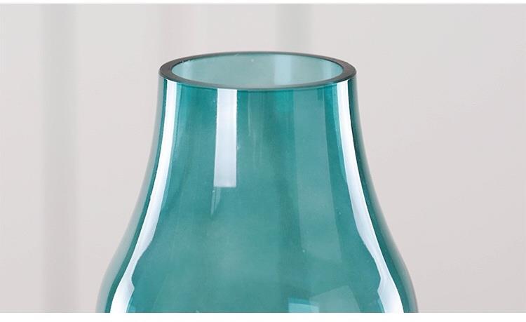 Blue Green Mist Transparent Glass Vase