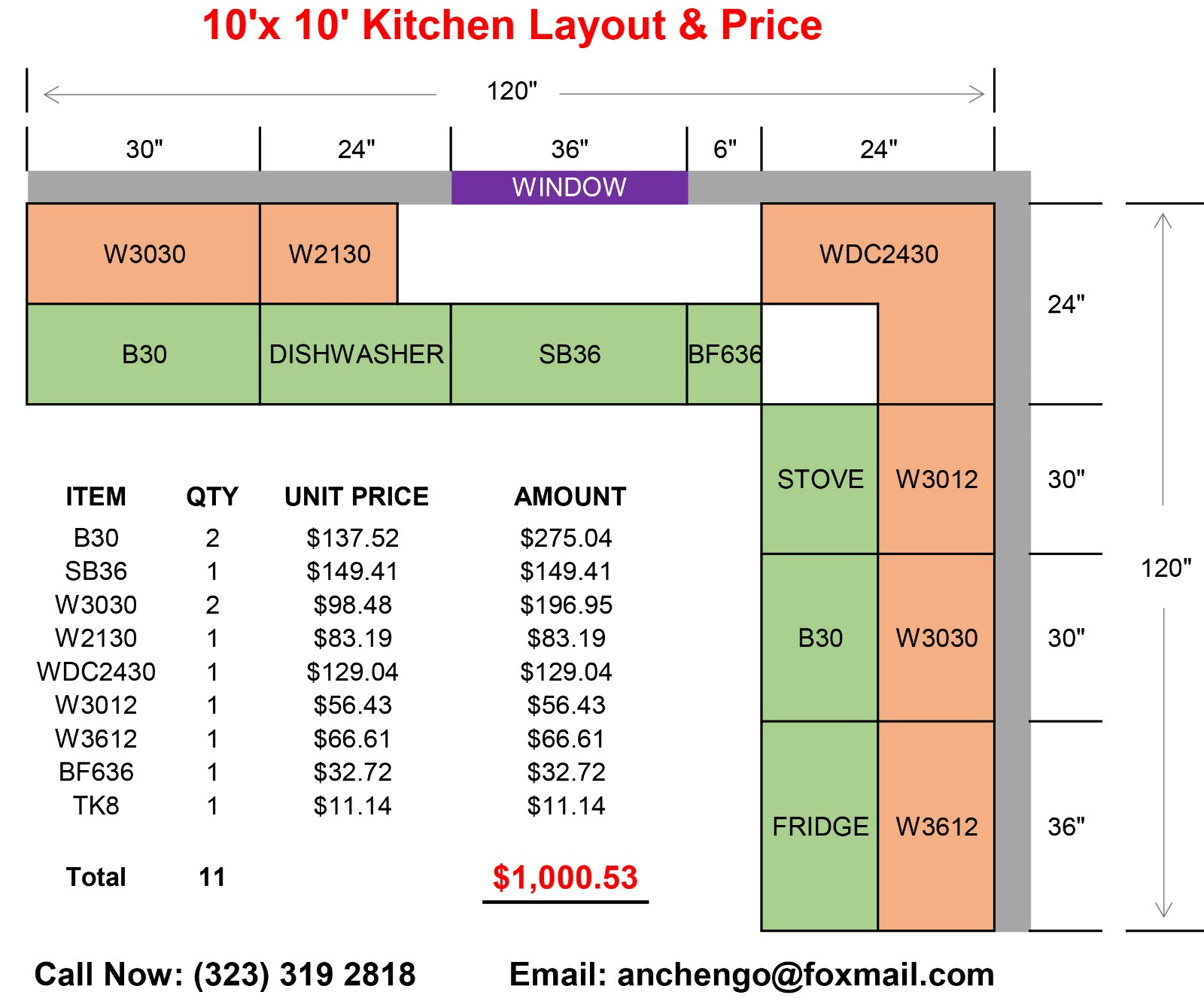 2 Kitchen 10'x 10' Layout & 
