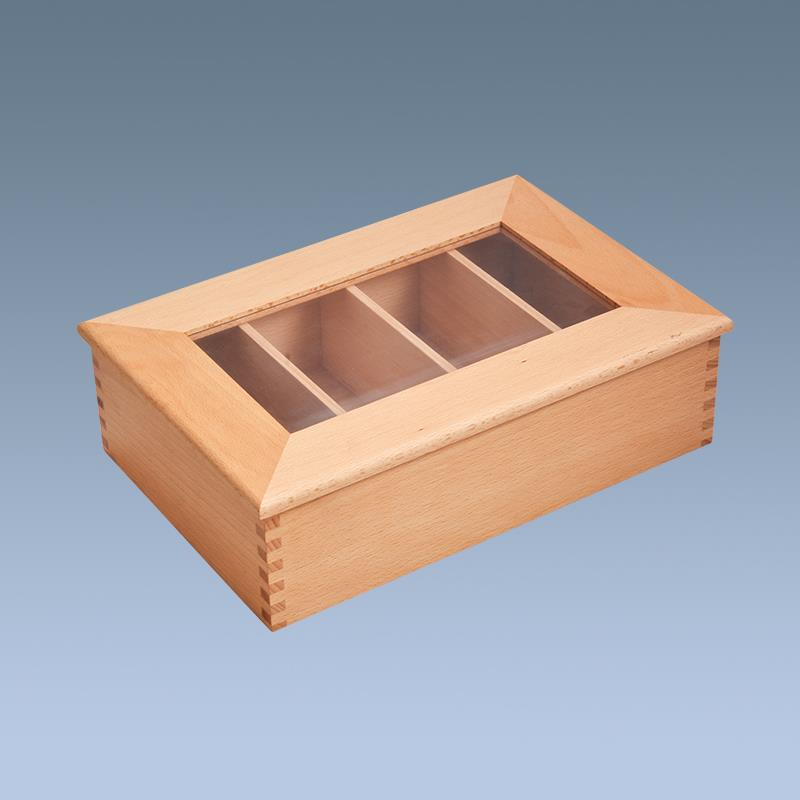 wood tea box with 4 compartments