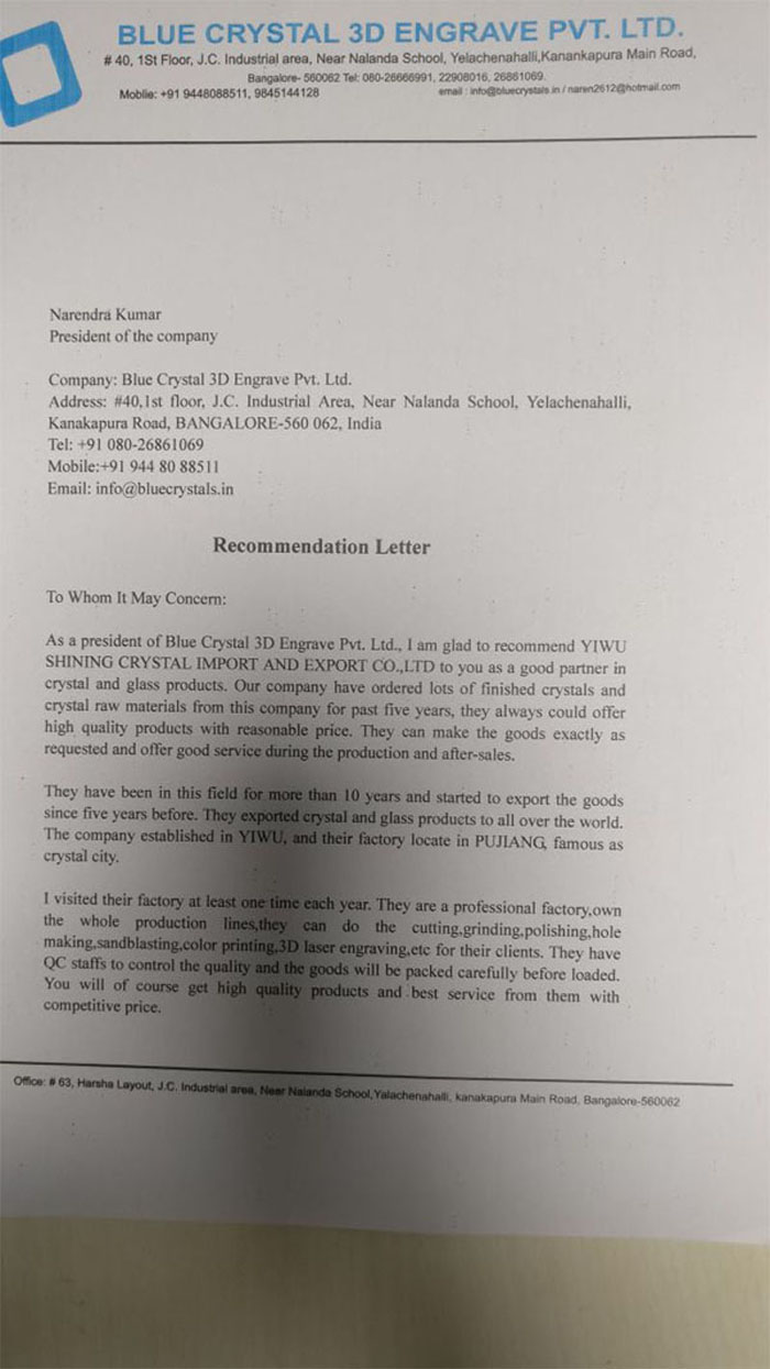 recommendation letter from Blue Crystal 3D Engrave Pvt.jpg