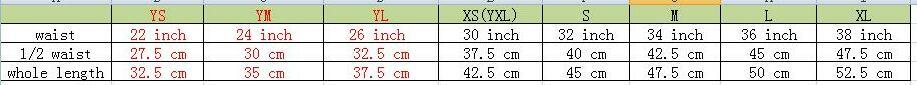 lühikeste suuruste tabel