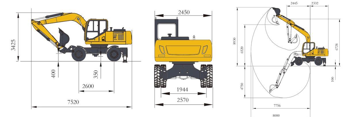 13.5 ton wheel excavator specifications
