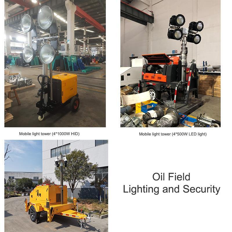 Mobile light tower oil field