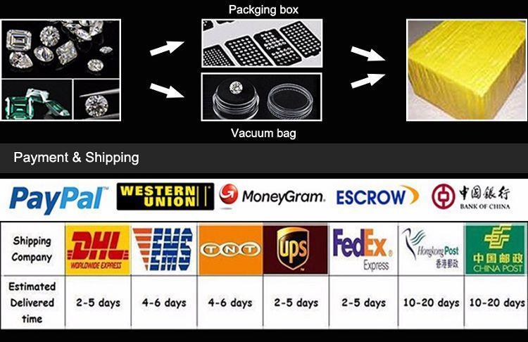 vente en gros de haute qualité moissanite emballage, livraison et paiement