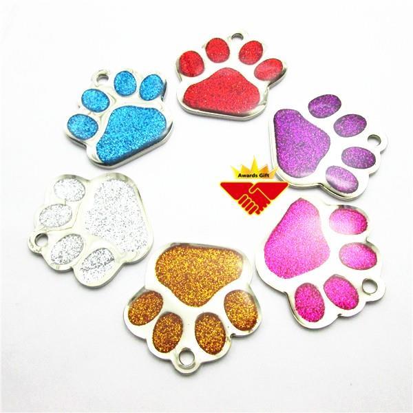 Paw Shape Colorful Glitter Pet ID Tag (5).jpg