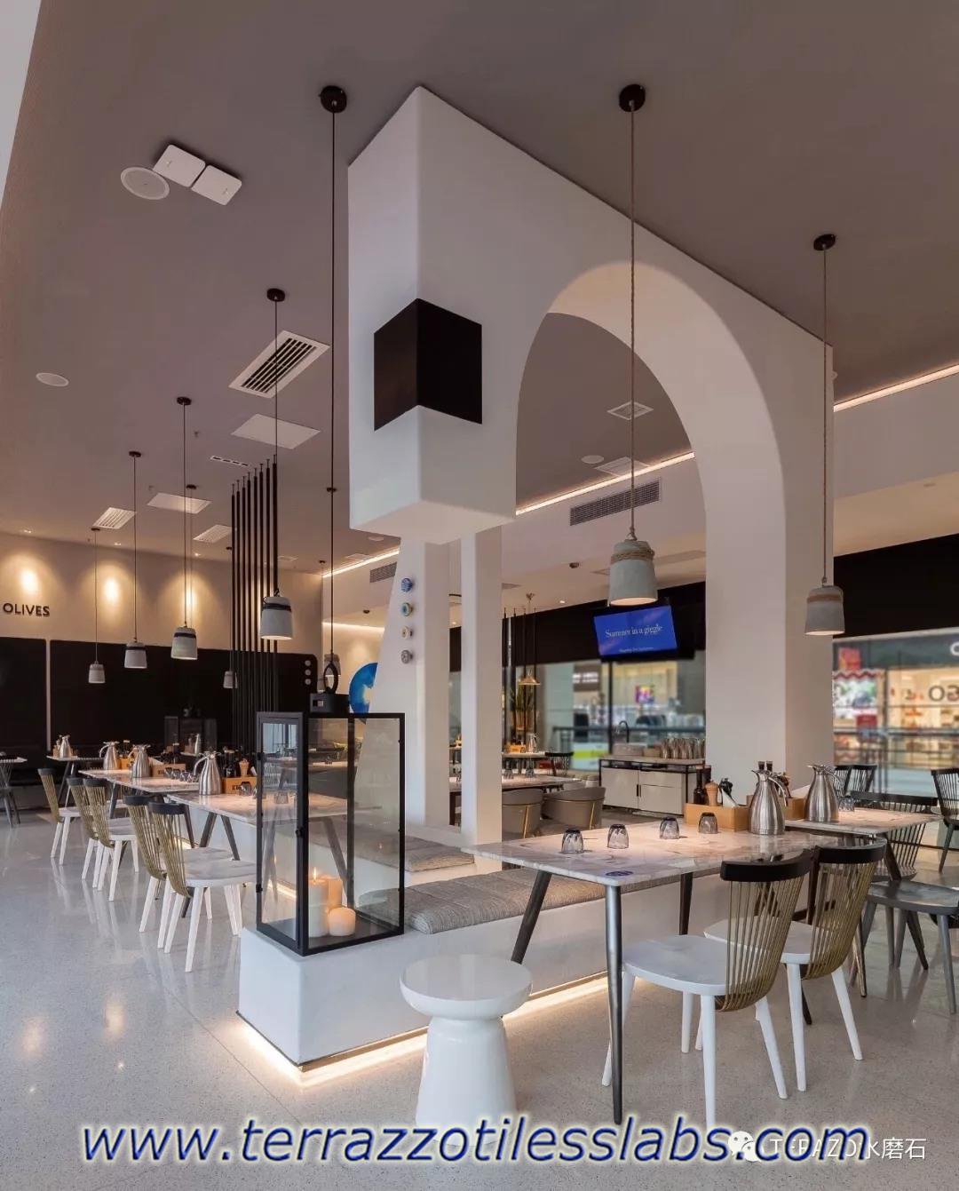 White Terrazzo Tiles for Restaurant