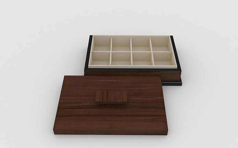 8 tavler træ te kasse med glas låg