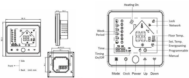 Water Floor Heating Thermostat display