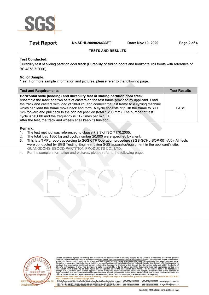 SGS test report of eg-g2000 super high rail