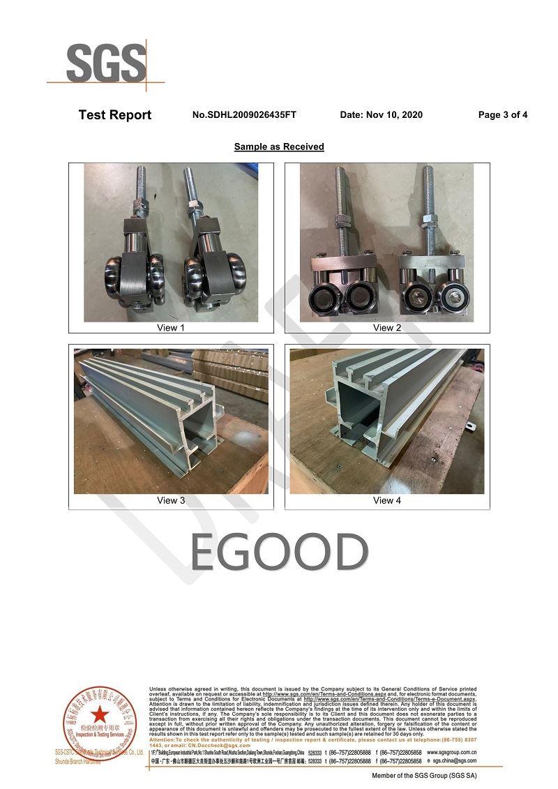 SGS test report of eg-g2000 ultra high aluminum rail