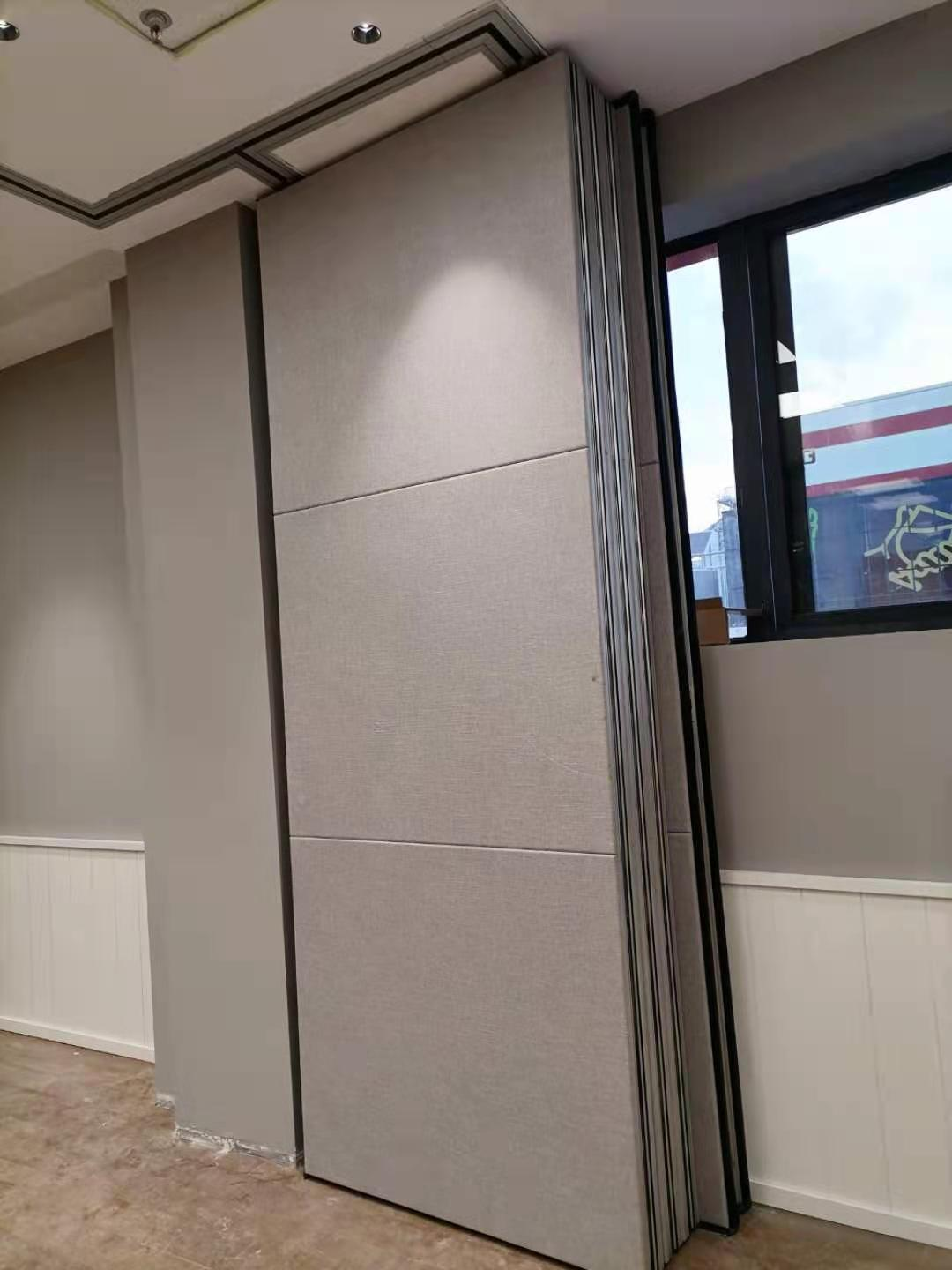Fabric cladding acoustic movable partition wall panel stacking