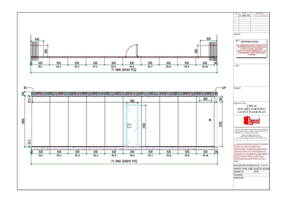 type 65 movable partition wall drawing.