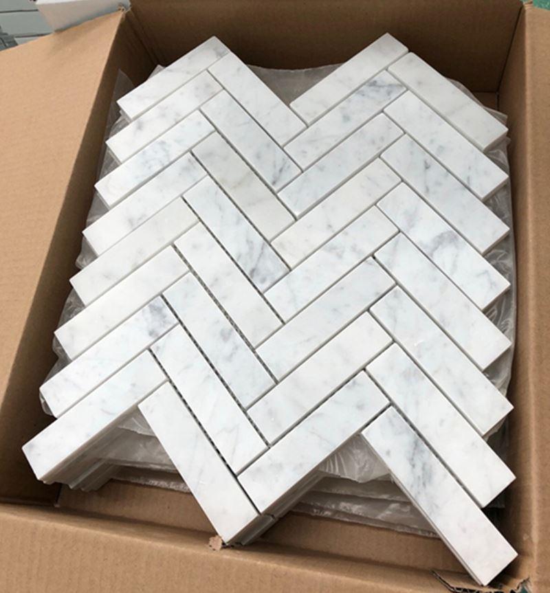 Carrara White Marble 1x4 Herringbone Mosaic Tile