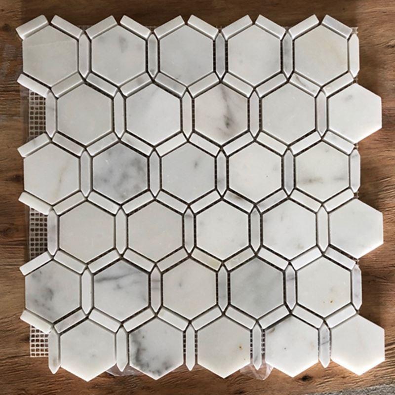 Carrara White Marble Hexagon Edge Mosaic Tile